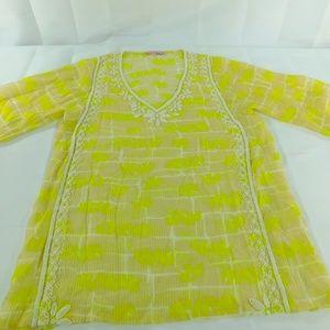 Calypso St. Barth Beaded Silk Top Women's Size XS